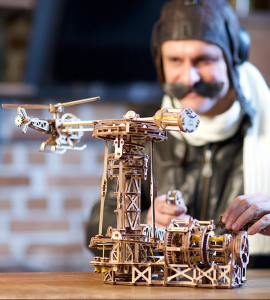 Ugears mechanical model kit Aviator and wooden 3D puzzle for self-assembly. Flying model with airplane, helicopter and flight control tower. Original gift for boys and girls and smart hobby for grown-ups.