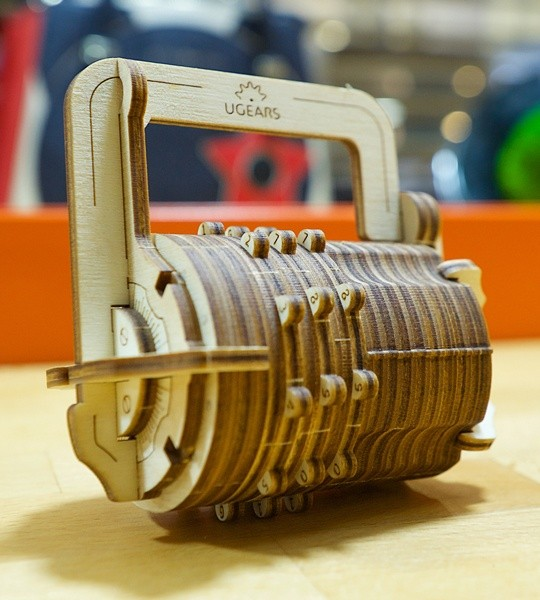 Ugears mechanical model kit Combination Lock and wooden 3D puzzle box. Cryptex with personal 3-digit code. Original gift for boys and girls and smart hobby for grown-ups.