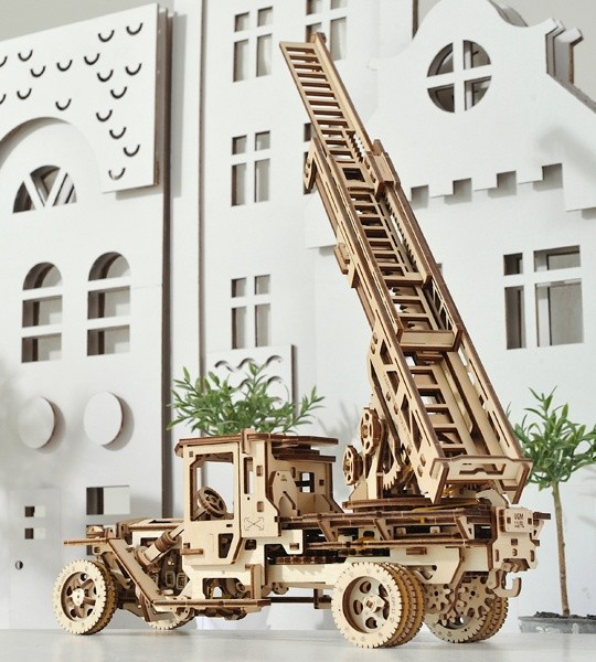 Ugears mechanical model kit Fire Ladder Truck and wooden 3D puzzle. Retractable 3-Section Fire Ladder and crane on a rotating platform of self-propelled truck. Original gift for boys and girls and smart hobby for grown-ups.