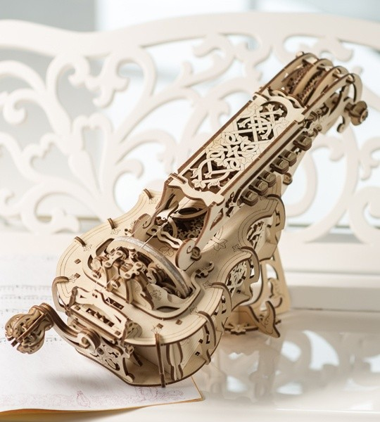 Ugears mechanical model kit Hurdy-Gurdy and wooden 3D puzzle. Fully fledged medieval musical instrument. Original gift for boys and girls and smart hobby for grown-ups.