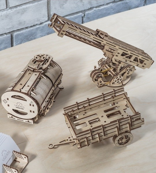 "Ugears mechanical model kit Set of Additions to the model ""Truck UGM-11 and wooden 3D puzzle. Tanker, Fire Ladder und chassis. Original gift for boys and girls and smart hobby for grown-ups."