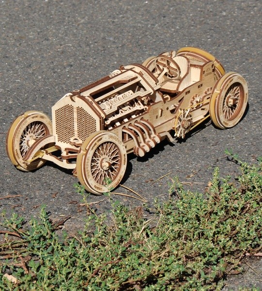 Ugears mechanical model kit U-9 Grand Prix Car and wooden 3D puzzle. V8 engine, self-propelled racing sports car for self-assembly. Original gift for boys and girls and smart hobby for grown-ups.
